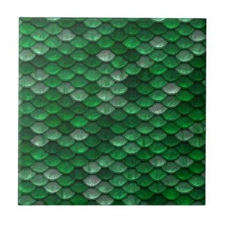 Azulejo De Cerámica Impresión metálica de las escalas de Forest Green