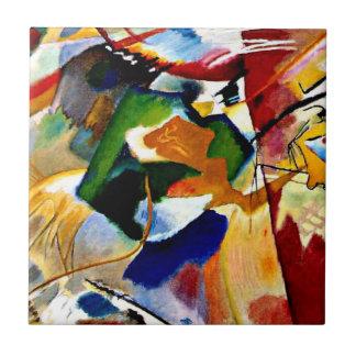 Azulejo De Cerámica Kandinsky - pintura con el centro verde