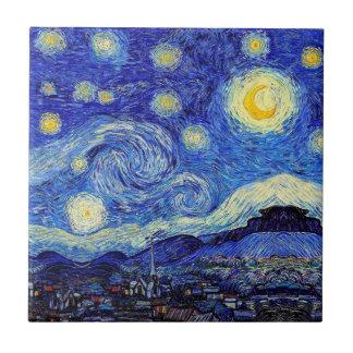 Azulejo De Cerámica La noche estrellada inspiró productos de la obra