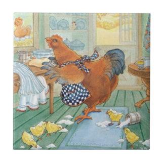 Azulejo De Cerámica La pequeña gallina roja