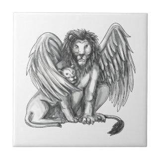 Azulejo De Cerámica León con alas que protege el tatuaje de Cub