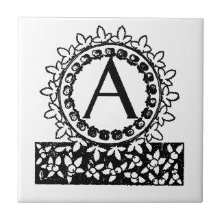 Azulejo De Cerámica Letra A del monograma del Victorian del vintage
