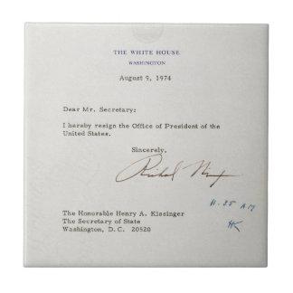 Azulejo De Cerámica Letra de la dimisión de Richard M. Nixon 1974
