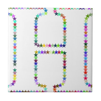 Azulejo De Cerámica Letra H de la estrella del arco iris