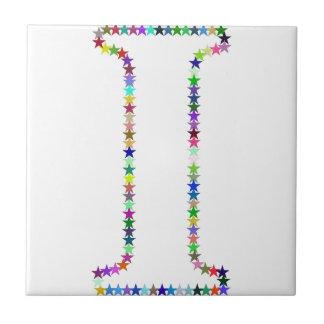 Azulejo De Cerámica Letra I de la estrella del arco iris