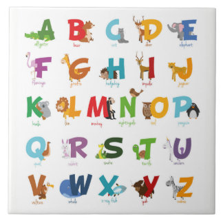 Azulejo De Cerámica Letras animales ilustradas coloridas del alfabeto
