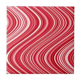 Azulejo De Cerámica Líneas onduladas inconsútiles en rojo y blanco
