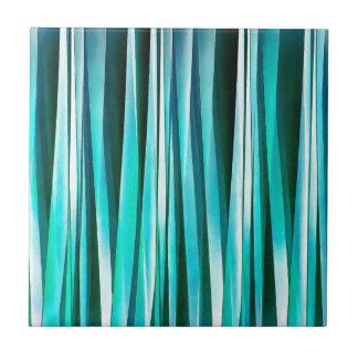 Azulejo De Cerámica Líneas rayadas modelo de la turquesa y del océano