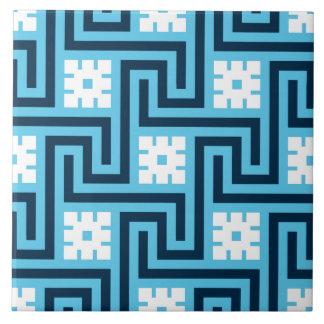 Azulejo De Cerámica Llave griega de Deco, azul de cielo y marina de
