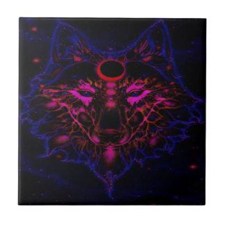 Azulejo De Cerámica Lobo azul de neón mítico