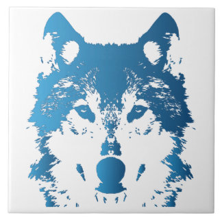 Azulejo De Cerámica Lobo de los azules claros del ilustracion