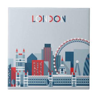Azulejo De Cerámica Londres, Inglaterra horizonte rojo, blanco y azul