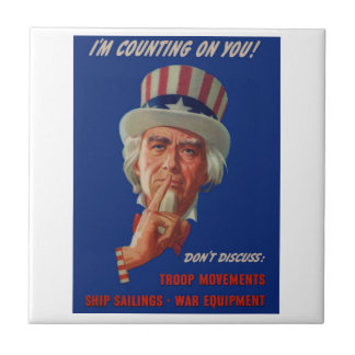 Azulejo De Cerámica los años 40 que advierten de tío Sam