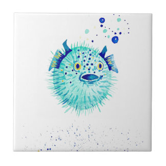 Azulejo De Cerámica Los Pufferfish de Neptuno