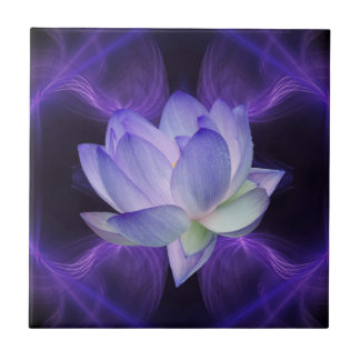 Azulejo De Cerámica Lotus púrpura y geometría sagrada