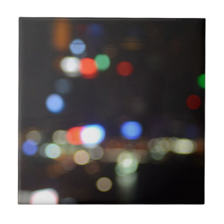 Azulejo De Cerámica Luces borrosas de la noche de Hong Kong