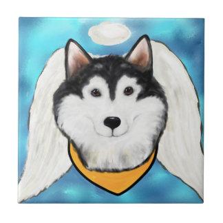 Azulejo De Cerámica Malamute de Alaska del ángel