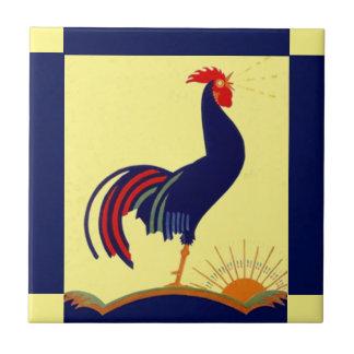 Azulejo De Cerámica Mañana Sun del cuervo del gallo del arte popular