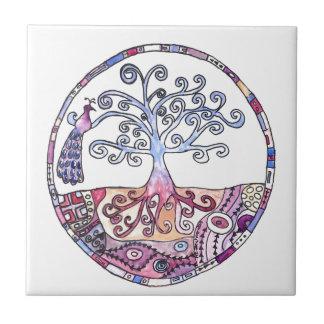 Azulejo De Cerámica Mandala - árbol de la vida en paraíso