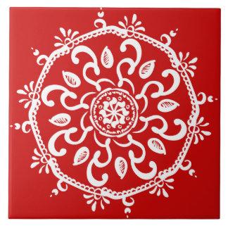 Azulejo De Cerámica Mandala de la cereza