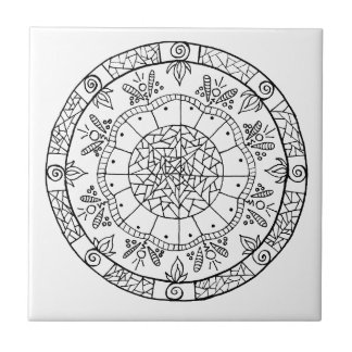 Azulejo De Cerámica Mandala de la flor