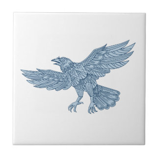 Azulejo De Cerámica Mandala del vuelo del cuervo