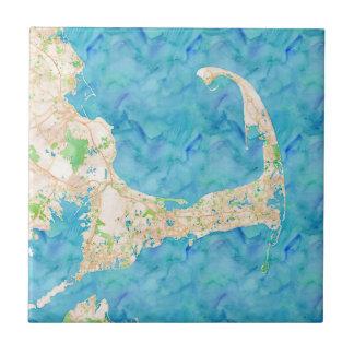 Azulejo De Cerámica Mapa de Cape Cod de la acuarela