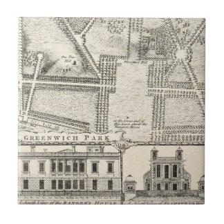 Azulejo De Cerámica Mapa del parque de Greenwich