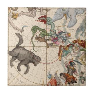 Azulejo De Cerámica Mapa del vintage del Polo Norte