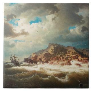 Azulejo De Cerámica Marco Larson - nave por la costa