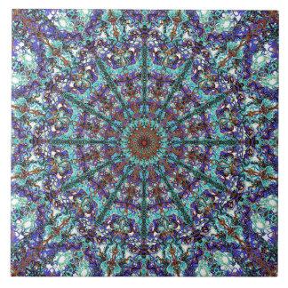 Azulejo De Cerámica Modelo atado mandala de la turquesa de Boho