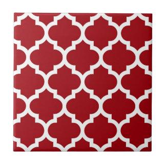 Azulejo De Cerámica Modelo blanco rojo #5 de Quatrefoil del marroquí
