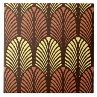Azulejo De Cerámica Modelo de la pluma del art déco, Brown oscuro y