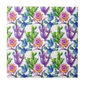 Azulejo De Cerámica Modelo del cactus del Wildflower de la acuarela