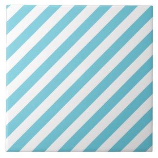 Azulejo De Cerámica Modelo diagonal azul y blanco de las rayas