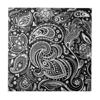 Azulejo De Cerámica Modelo floral negro y blanco de Paisley
