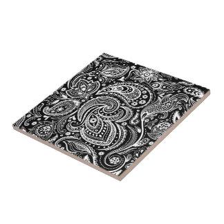 Azulejo De Cerámica Modelo negro y blanco del cordón de Paisley de la