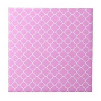 Azulejo De Cerámica Modelo rosado y blanco de Quatrefoil