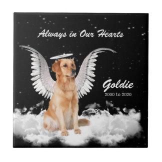Azulejo De Cerámica Monumento para el perro del ángel del golden