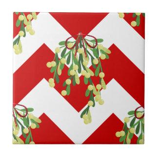 Azulejo De Cerámica muérdago del galón de Navidad