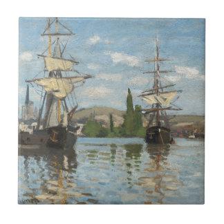 Azulejo De Cerámica Naves de Claude Monet que montan en el Sena en