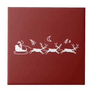 Azulejo De Cerámica Navidad de Santa y del reno