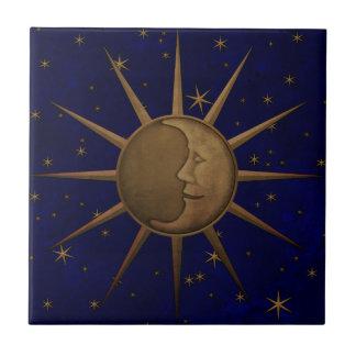 Azulejo De Cerámica Noche estrellada de la luna celestial de Sun