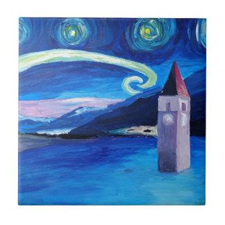 Azulejo De Cerámica Noche estrellada en Suiza - Vierwaldstätter ve