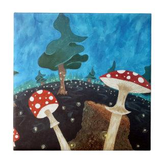 Azulejo De Cerámica noche trippy en las maderas