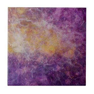 Azulejo De Cerámica Nube amarilla y púrpura abstracta, diseño colorido