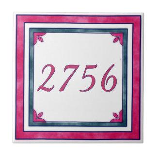 Azulejo De Cerámica Número de casa roja y verde