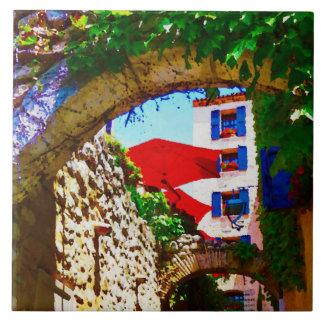 Azulejo De Cerámica Opinión del pueblo de Provence con los paraguas