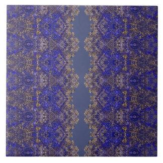 Azulejo De Cerámica Ornamento de oro-azul atado Boho-Romántico