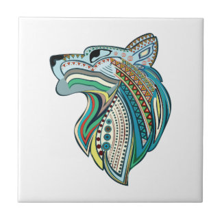 Azulejo De Cerámica Ornamento étnico principal del lobo